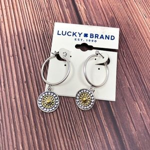Lucky Brand Two-Tone Floral Hoop Earrings